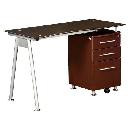 Glass Desk with Storage Cabinet Chocolate - Techni Mobili : Target