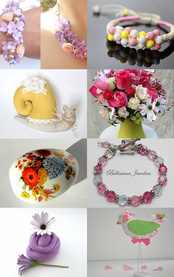 Very pretty spring themed treasury featuring our Cotton Candy Organic fabric fat quarter bundle.... perfect for your spring projects ♥
