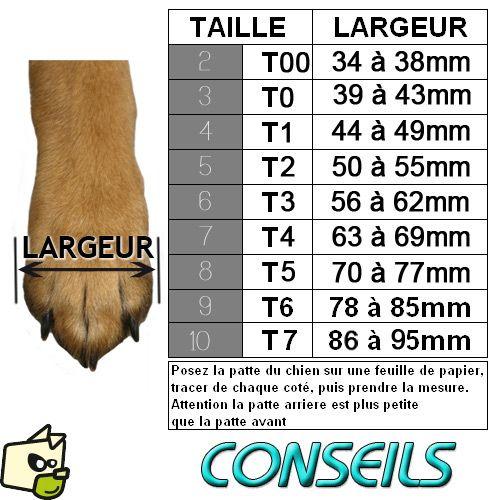 GUIDE DE TAILLE - BOTTINE GRIP WALKER ACTIVE pour protection des coussinets de chien