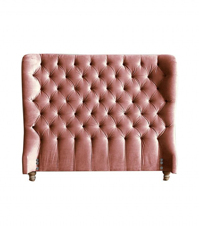 Anthropologie Slub Velvet Tufted Wingback Headboard in Rosewood