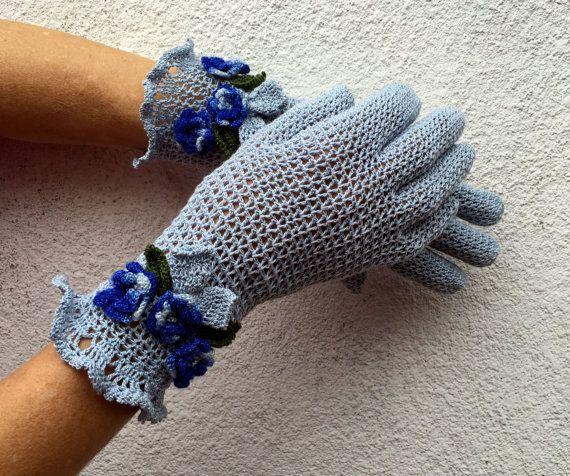 Elegant Sky Blue Lace Gloves  Vintage Style Accessory by domklary