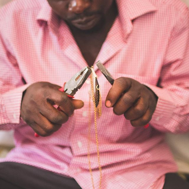 Putting the finishing touches on a Soko necklace. #madeinafrica #ethicalfashion #ethicaljewelry