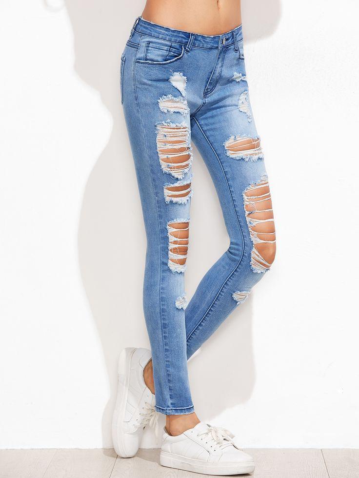 Jeans moulant rétro décoloré  -bleu-French SheIn(Sheinside)