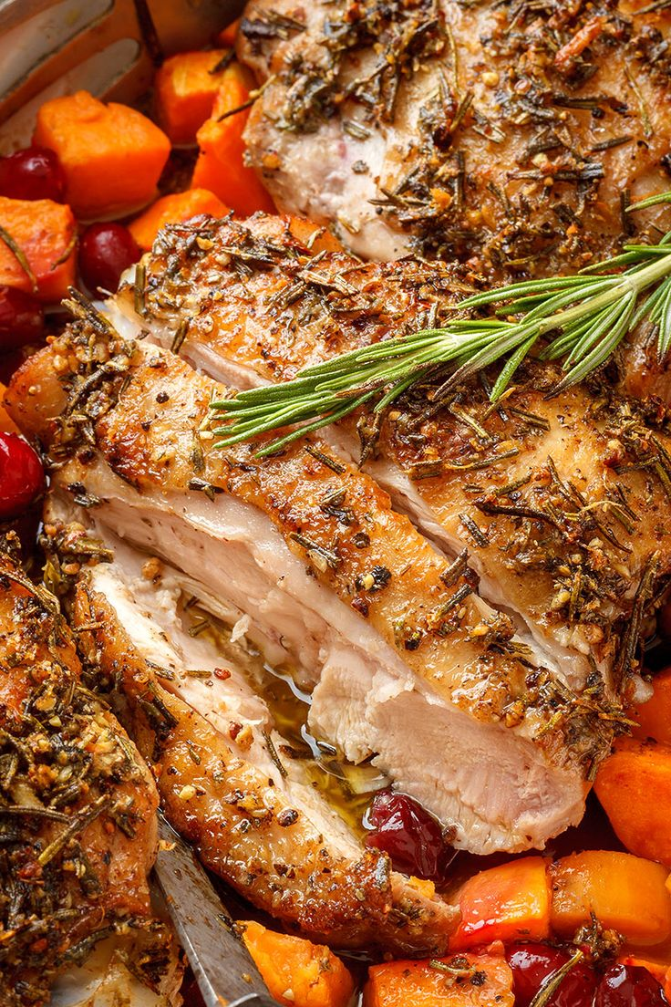 Garlic-Herb Butter Roasted Turkey Thighs — A no-fuss easy roasted turkey recipe filled with the most succulent flavors!