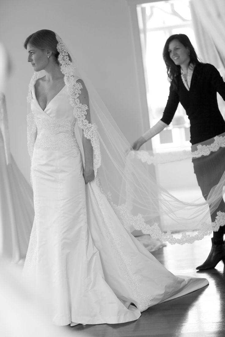 Pure silk Radzimir weddingdress with ribbon embroidered belt and veil.