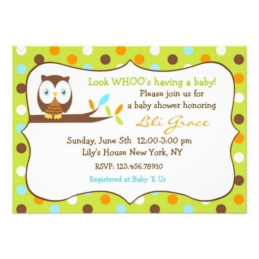 owl baby shower invitation boy