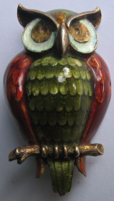 Finn Jensen Vintage Sterling Olive Green Red Enamel Owl Pin......