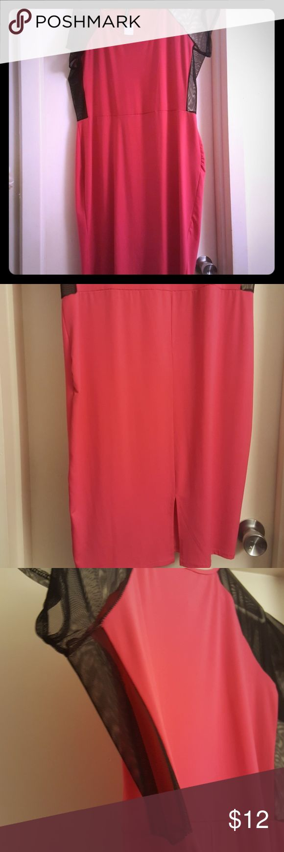 Plus size clubwear Hot pink night out dress with sheer sleeve & side panel for simple sexy detail, rear split for easy movement Dresses Mini