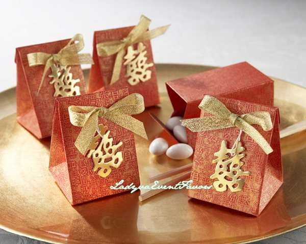 Red gold double happiness Favor Box
