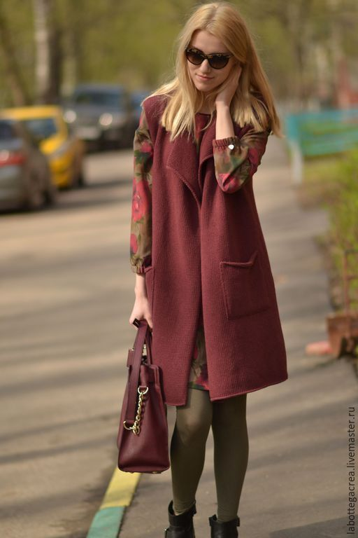 Купить или заказать Длинный вязаный жилет La Liberta merino fine в интернет-магазине на Ярмарке Мастеров. В наличии жилет цвет темно-серый(мокрый асфальт) размер S (42) Длинный жилет свободного кроя связан из 100% мериносовой итальянской пряжи высокого качества, extra merino fine, очень мягкий, совершенно без колкости, легкий. Модного цвета 2015г. Марсала. В офисе можно носить с платьем, юбкой и блузой, на прогулки с джинсами, футболками, варианты расцветок - темный оливковый, деревенский…