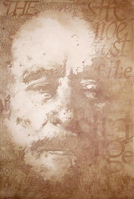 Charles Bukowski painted with red wine
