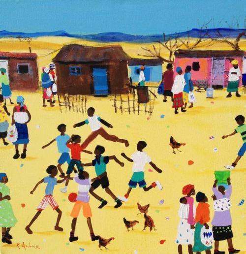 Katherine Ambrose - Saturday Soccer Category Township Art Medium Acrylic