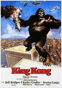 """King Kong"" (1976). Directed by John Guillermin. Starring: Jeff Bridges, Charles Grodin, Jessica Lange. It is a film about a scientific expedition to an undiscovered Indian Ocean island, the aim of which is to find oil. Suddenly the members of the expedition find a huge ape living there.The film tells us about the adventures of the group of people and the ape in the jungle. Recommended age -12+"