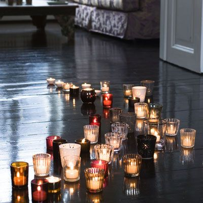 Would be so romantic and so much better than rose pedals....as long as the house doesn't catch fire