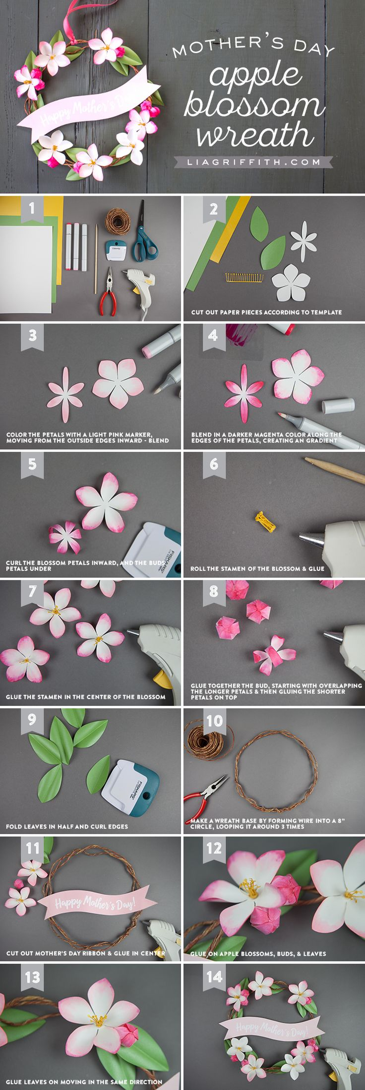 Brighten Her Day With Blossoms  Hang this sweet sentiment on the front or bedroom door to surprise Mom in the morning or after work. Adorned in mini paper apple blossoms, this Mother's Day wreath is easier than you think. Find out how to make your own here https://liagriffith.com/paper-apple-blossom-mothers-day-wreath * * * #mothersday #mom #moms #mothersdaygift #mothersdaygifts #giftsforher #giftsformom #wreath #paper #papercut #paperlove #paperflower #paperflowers #blossom #blossoming #diy…