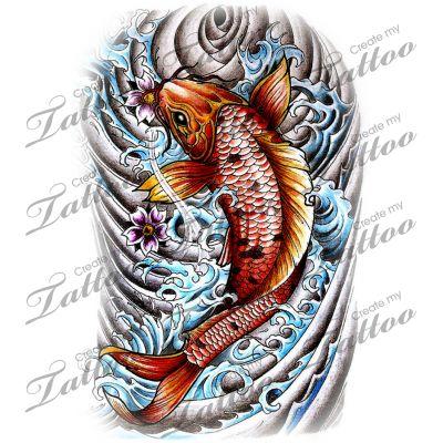 Koi Fish Half or Quarter Sleeve tattoo design