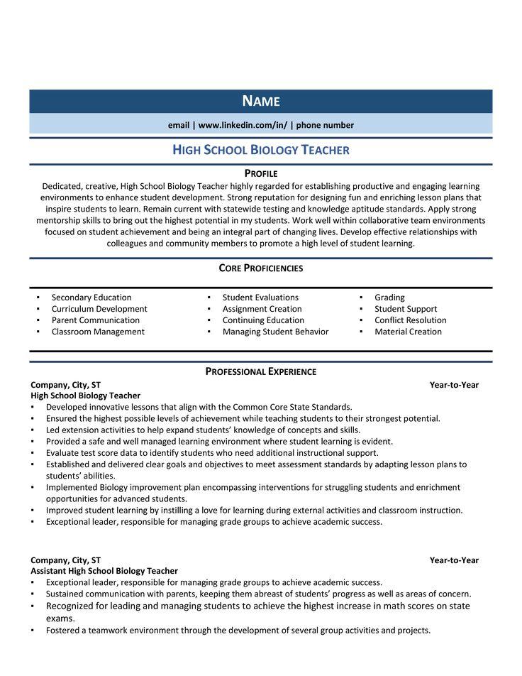 High School Biology Teacher Resume Samples & How to Guide