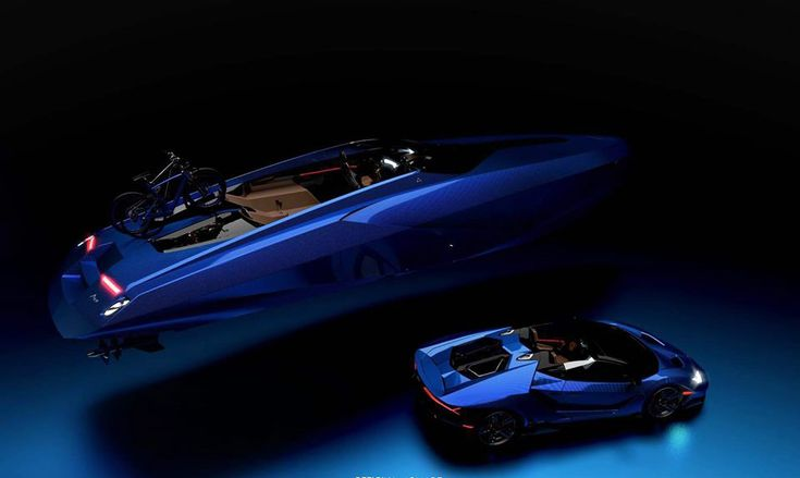 Officina Armare took inspiration from Lamborghini for their newest concept, the which the boat maker is billing as less speedboat and more lifestyle. Fast Boats, Speed Boats, Power Boats, Lamborghini Aventador, Lamborghini Concept, Yacht Design, Boat Design, Luxury Yachts, Luxury Cars