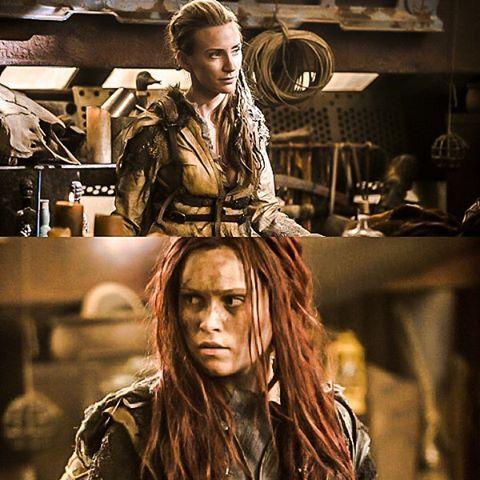 Above: Niylah (Jessica Harmon) Below: Clarke Griffin (Eliza Taylor)