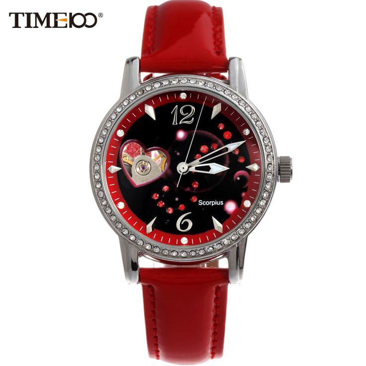 US $52.28 - TIME100 Ladies New Fashion 12 Constellation Scorpio Automatic Mechanical Self-Winding Skeleton Leather Brand Women Wrist Watches