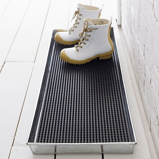 Galvanized Metal Boot Tray with Rubber Boot Tray Insert in Outdoor Rugs | Crate and Barrel