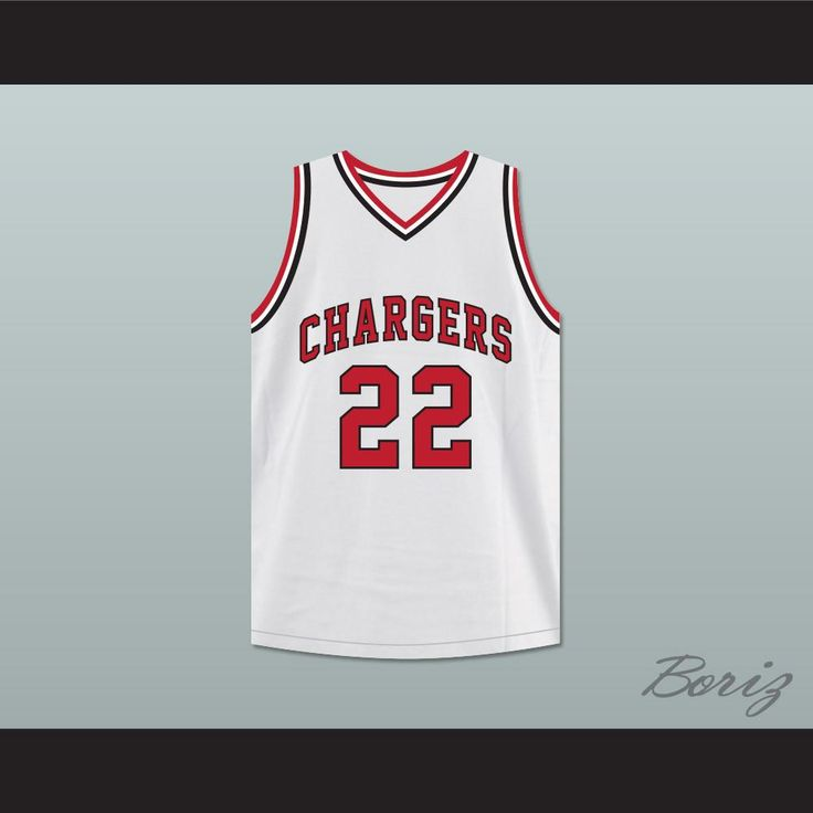 """William Gates 22 Chargers High School White Basketball Jersey Hoop Dreams. STITCH SEWN GRAPHICS  CUSTOM BACK NAME CUSTOM BACK NUMBER ALL SIZES AVAILABLE SHIPPING TIME 3-5 WEEKS WITH ONLINE TRACKING NUMBER Be sure to compare your measurements with a jersey that already fits you. Please consider ordering a larger size, if you prefer a loose fit. HOW TO CALCULATE CHEST SIZE: Width of your Chest plus Width of your Back plus 4 to 6 inches to account for space for a loose fit. Example: 18"""" wide…"""