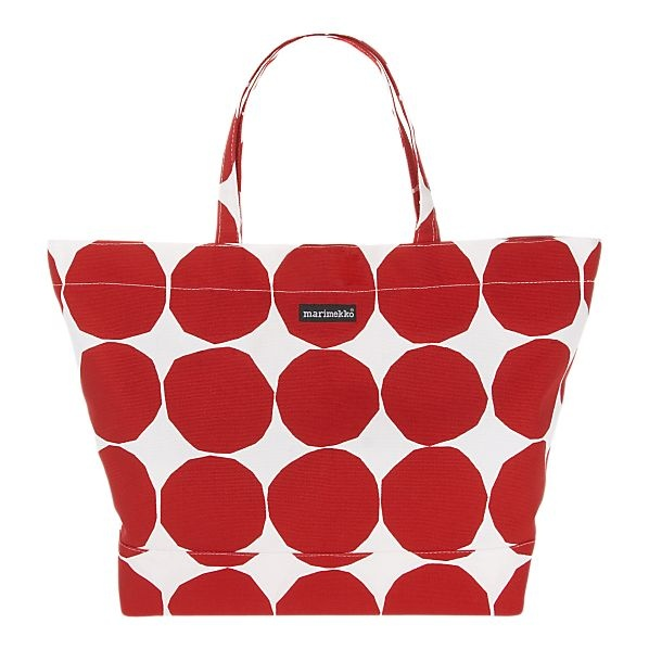 Marimekko Pienet Kivet Opaali Red and White Bag: Made of 100% cotton canvas with a magnetic closure and inner pocket. #Marimekko #Tote