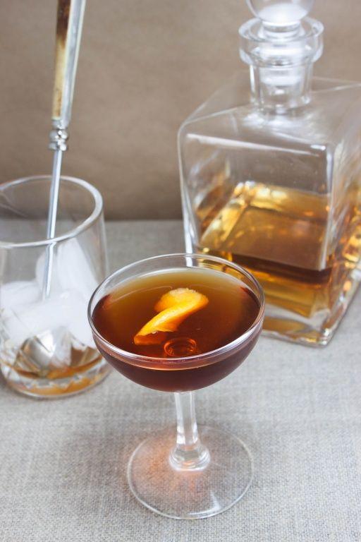 Vieux Carre: rye, cognac, sweet vermouth, benedictine, Peychaud's bitters, Angostura bitters, flamed orange zest | Whit's Amuse Bouche