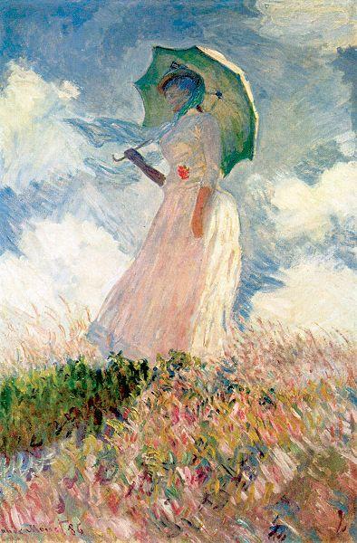 """Oscar-Claude Monet (14 de noviembre de 1840 en París - 5 de diciembre de 1926 en Giverny) fue uno de los fundadores de la pintura impresionista. El término impresionismo deriva del título de su obra Impresión, sol naciente, creada en 1872. Esta obra """"Mujer con sombrilla"""" 1886"""