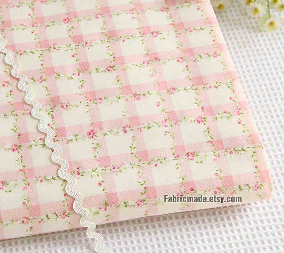 Flower Shabby Chic Cotton Fabric Cloth, Light Pink Rose Floral Plaid Cotton - 1/2 yard