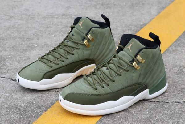 "5efdbb1a04d21d 2018 Air Jordan 12 Chris Paul ""Class of 2003″ Olive Canvas Sail-Black-Metallic  Gold"