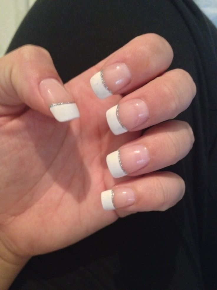 French Manicure With Silver Line
