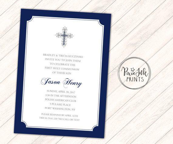 Navy U0026 White Baptism Invitation Boy Christening Invitation ·  Taufeinladungen Junge