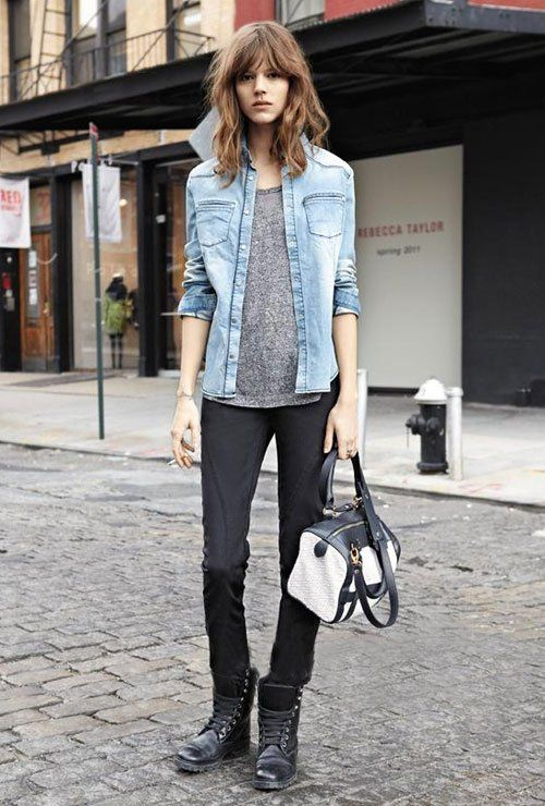 Freja Beha Erichsen  denim, heather grey. skinnies. Everything she wears is always so damn good.