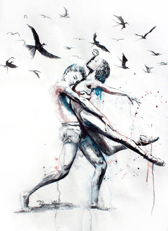 Original Aquarell. Wandkunst Tanzpaar. Lasse sie.  Aquarell