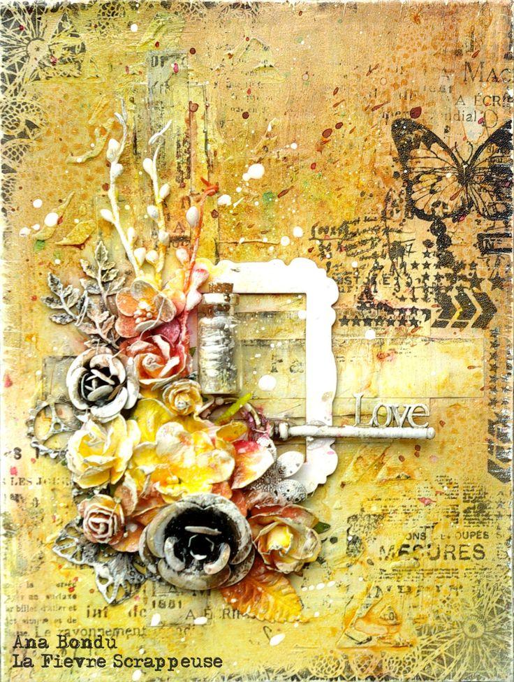 Bouquet Automnal pour Carabelle Studio.  mixed media  www.lafievrescrappeuse.com/