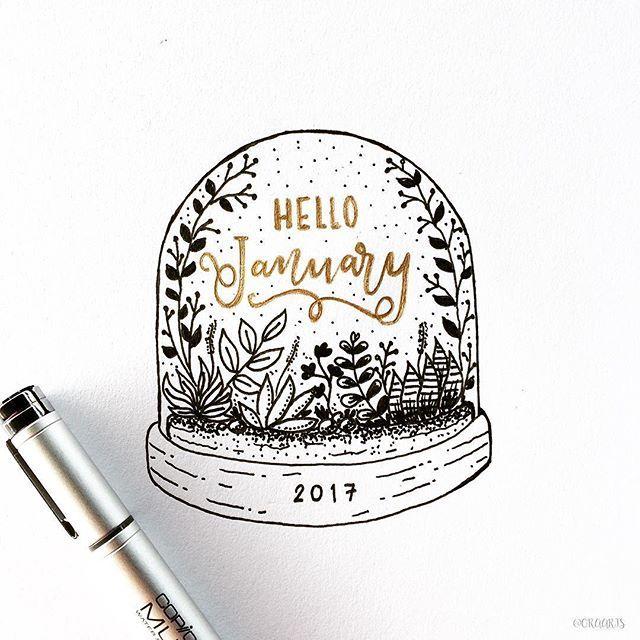 Hello January!~ misschien met een andere inhoud in de glazen sneeuwbol.
