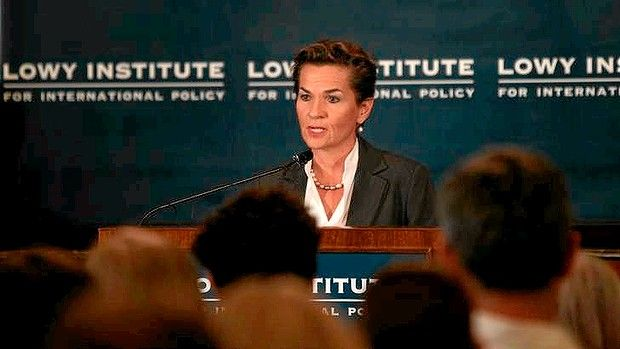 UN Climate Change chief Christiana Figueres chief addresses the Lowy Institute. Mocking any suggestion australia is alone on climate