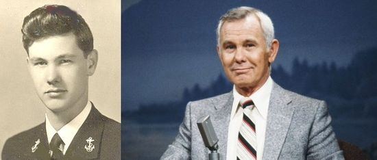 Johnny Carson Carson joined the Navy in 1943 and was ultimately commissioned as an ensign (equivalent to an Army or Air Force 2nd Lieutenant). He served on the battleship USS Pennsylvania and as a communications officer. He was on his way to take part in the invasion of Japan when the war ended.