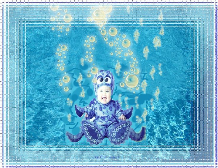 baby in octopus suit with bubbles.