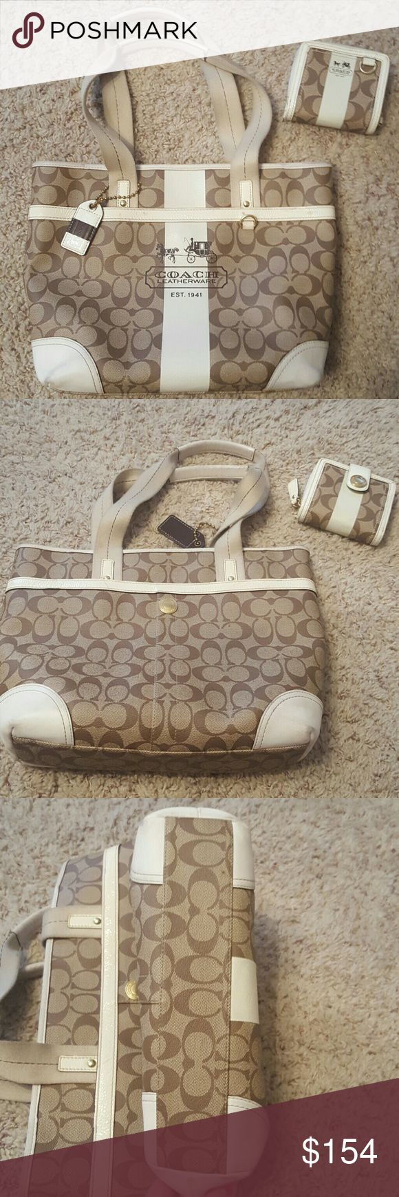Coach purse and wallet set tan with brown c's Coach purse and wallet set  tan with brown c's and cream  leather trim overall in great shape with flaws on the corners of cream leather on bottom of the purse  and stains on front trim as seen in the pictures bag and wallet are authentic. plastic material with leather trim has two outside pockets one main inside pocket with one inside zip pocket and two smaller slots clean on inside no stains! from a smoke free home!! please see pics for leather…