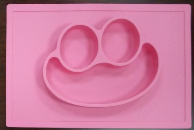 Silicone Fun Placemat & Plate/Tray - Self Suction Silicone Baby Placemat Plate - One Piece Smiling Mat S Size 30.5*20.5*2.7Cm