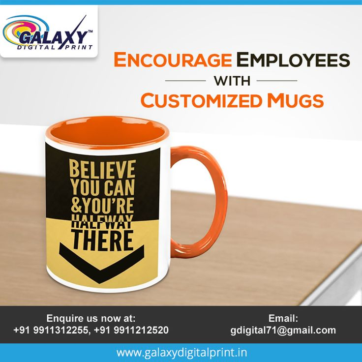Give your employees coffee mugs with motivational thoughts printed on it and encourage them for productive results. For bulk order, contact gdigital71@gmail.com  #MugPrinting #Gifts #Prizes #DigitalPrinting