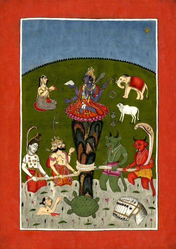 Painting. Kūrma, tortoise avatar of Vishnu at the churning of the ocean of milk. Gouache on paper. Inscribed. School/styleRajasthan School term details Date1790-1810 (circa)