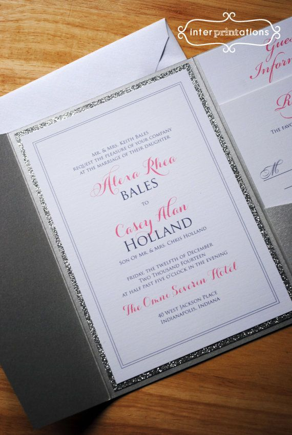 invitations wedding renewal vows ceremony%0A Glitter Pocketfold Invitation Silver Alexa by Interprintations  Find this  Pin and more on Vow Renewal