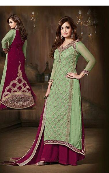 Ravishing Mint Green Bollywood Palazo Salwar Kameez