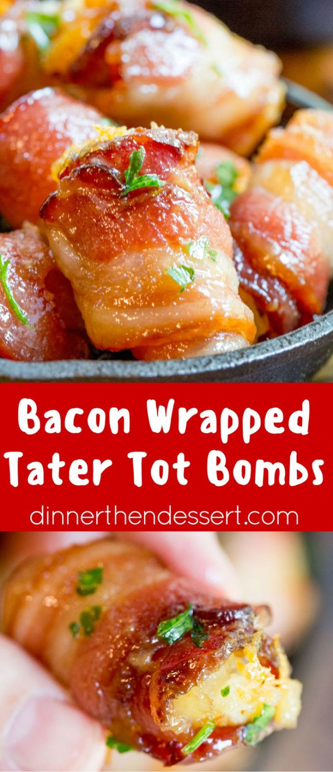 Bacon Wrapped Tater Tot Bombs are an easy appetizer of tater tots and sharp cheddar cheese wrapped in thick cut bacon, rolled in brown sugar and baked. dinnerthendessert.com
