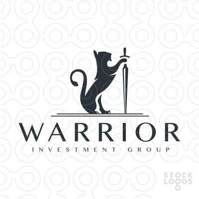 Logo for sale: Stylized rendering of a lion holding a sword