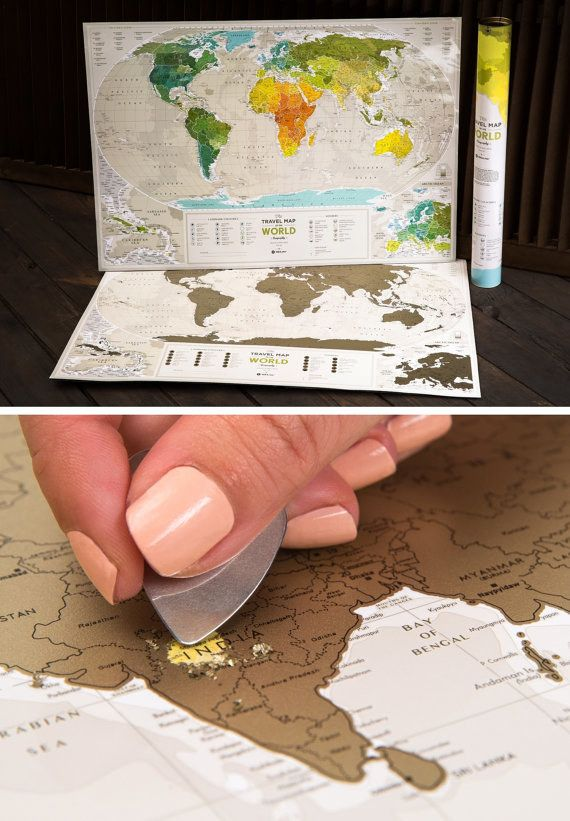 A scratch map for the couple with wanderlust. | 19 Unique Wedding Gifts You Won't Find On The Registry