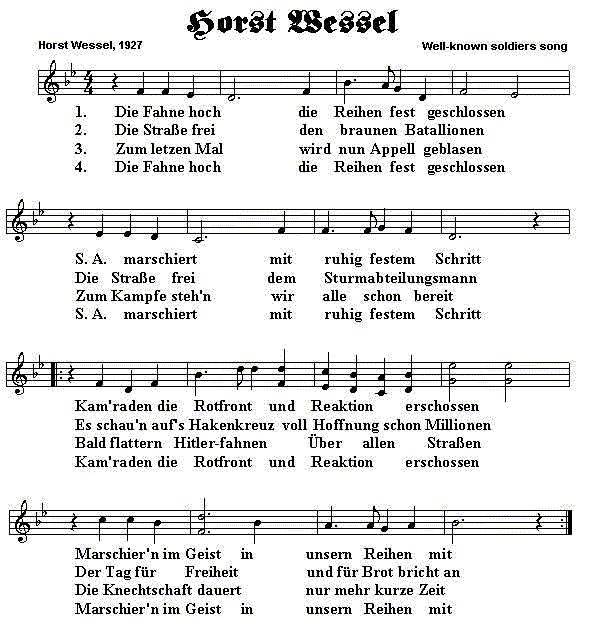 The Horst Wessel Lied (Sheet Music)